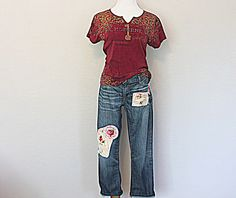Boyfriend Jeans Upcycled Gap Patchwork Denim Boho Altered Clothing Women's Clothes by AmadiSloanDesigns on Etsy