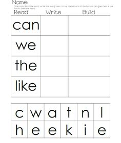 Read, Write, Build: Love this idea for an at-home way to pratice sight words or outlaw words. Would work great for a independent work time during Guided Reading or small group, too! Kindergarten Language Arts, Kindergarten Literacy, Kindergarten Independent Work, Word Study, Word Work, Reading Centers, Literacy Centers, Literacy Activities, Spelling Activities