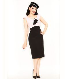Black & Pink Dainty Eve Wiggle Dress - Unique Vintage - Cocktail, Pinup, Holiday & Prom Dresses.
