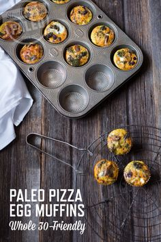 Paleo Pizza Egg Muffins are a great pre-workout snack or quick breakfast! They're loaded with veggies, and they're gluten- and dairy-free. If you're doing a Whole30, they're 100% Whole30-friendly. | stupideasypaleo.com