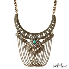 Park Lane's Pharaoh Necklace with turquoise and crystal accents looks amazing with a jean jacket. I love this boho-chick style! http://myparklane.com/katelivingston