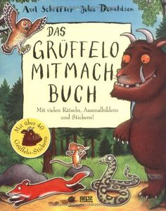 Das Grüffelo-Mitmachbuch: Mit vielen Rätseln, Such- und Ausmalbildern und Stickern von Axel Scheffler http://www.amazon.de/dp/3407793774/ref=cm_sw_r_pi_dp_zc0Pwb092CKFR
