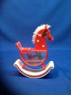 Vintage Santas World Rocking Horse Water Globe Snow Dome | eBay