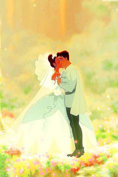 Tiana and Naveen's wedding phone backgrounds. Disney Kiss, Old Disney, Disney Couples, Disney Love, Disney Magic, Tiana And Naveen, Princess Tiana, Disney And Dreamworks, Disney Pixar