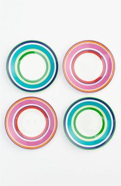 simple but cute plates!-- kate spade new york 'say the word' tidbits plates (set of available at Nordstrom Spring Architecture, Kate Spade Gifts, Gold Spray Paint, The Potter's Wheel, Canvas Designs, Ceramic Flowers, China Painting, Hand Painted Ceramics, Plates And Bowls