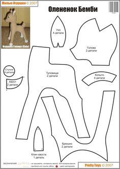 deer bambi like Animal Sewing Patterns, Felt Patterns, Stuffed Animal Patterns, Sewing Patterns Free, Stuffed Animals, Sewing Crafts, Sewing Projects, Deer Pattern, Softie Pattern