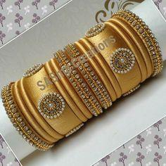 lovely gold silk thread bangles Silk Thread Bangles Design, Silk Thread Necklace, Silk Bangles, Beaded Necklace Patterns, Gold Bangles Design, Bridal Bangles, Thread Jewellery, Jewelry Patterns, Beaded Bracelets
