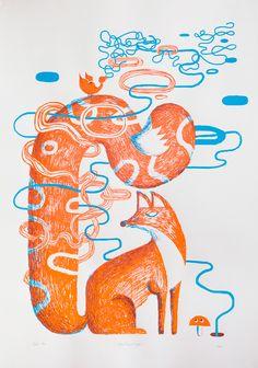 Antti Kalevi, Kettu (2012) 70x100cm silkscreen print