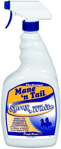 Mane N Tail Spray N White Shampoo & Cond 32oz by Mane N' Tail. $16.95. Size: Quart. Mane 'n Tail(R) Spray 'n White(R) Shampoo and Conditioner Nothing compares to the beauty of a shiny, white mane. Get that bright, high gloss look with the revolutionary Spray 'n White(R) shampoo/conditioner solution from Mane 'n Tail(R). Containing no harsh bleach or peroxide, this gentle formula uses effective optical brighteners to add incredible intensity to the coats of light color...