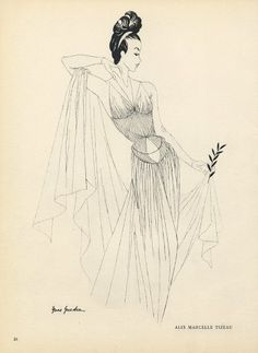 Marcelle Alix 1941 Yves Gueden Evening Gown Fashion Illustration