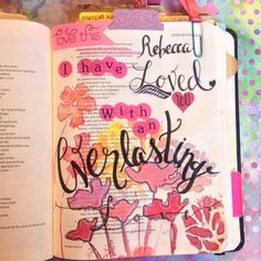 "My Bible art journaling page ""everlasting love"" #bibleartjournaling_canada"