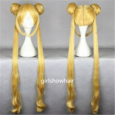 Sailor Moon Cosplay Wig Sailormoon Cosplay Pretty Soldier Sailor Moon Anime Wig Long Golden Yellow wig with Ponytails on Etsy, $28.99