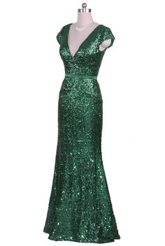 Emerald green ladies full length sequinned evening gown. Available in size 8 to 20. Cap sleeves, V neck line, zipper fastening - #prom #partydress #eveningdress
