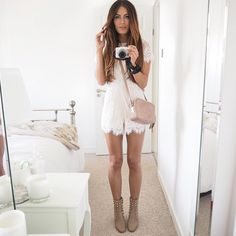 Wearing white lace out in Paris tonight with @laredoute_uk after their #ParisPressDay  As always links are over on my Twitter @lydiaemillen come say hey ❤️