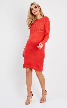 Coral Long Sleeve Knit Midi Dress - SilkFred