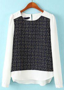 Navy White Long Sleeve Plaid Chiffon Blouse US$20.67
