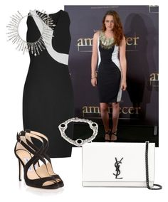 """""""Untitled #4717"""" by caroba ❤ liked on Polyvore featuring Roland Mouret, Jimmy Choo, Yves Saint Laurent, Bulgari and Giuseppe Zanotti"""
