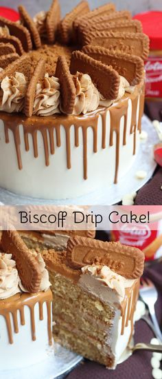 A Three Layer Biscoff Drip Cake with Brown Sugar Sponges, Biscoff Buttercream, White Chocolate Ganache, a Easy Cheesecake Recipes, Easy Cookie Recipes, Layer Cake Recipes, Drip Cakes, Chocolate Cookie Recipes, Chocolate Chip Cookies, Cake Chocolate, Chocolate Drip Cake Birthday, Nutella Birthday Cake