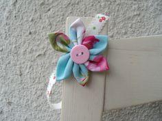 Haarband Baby Neugeborens Blumehellblau hellblau von Krimskrämerei auf DaWanda.com
