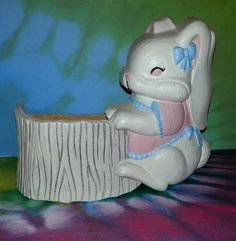 Girl Bunny Rabbit with Tree Trunk Basket by PurePoetrysEmporium