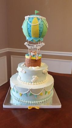 hot air balloon baby shower cake - Cake by Daina Torta Baby Shower, Baby Shower Cakes For Boys, Baby Shower Themes, Baby Boy Shower, Baby Showers, Shower Ideas, Hot Air Balloon Cake, Air Ballon, Baby Shower Balloons