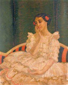 "Adrian Allinson 1890-1959: Tamara Karsavina as Columbine in ""Le Carnaval"" by Michel Fokine"