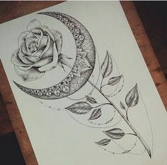 moon rose and jewelry tattoo Dope Tattoos, Back Tattoos, Future Tattoos, Body Art Tattoos, Small Tattoos, Rib Tattoos, Tattos, Tattoo Sketches, Tattoo Drawings