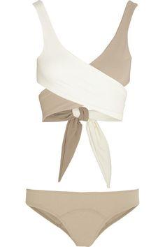 two-tone wrap-around bikini