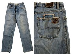 OKE 80s High Waist 90s Y2K Denim Blue Jeans Mom Boyfriend Worn Faded 35 w 41 L Blue Denim, Blue Jeans, High Waist, Mom Jeans, Boyfriend, Pants, Fashion, Trouser Pants, Moda