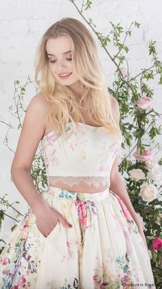 charlotte balbier bridal 2017 strapless sweetheart crop top ball gown skirt (posy) zfv floral print
