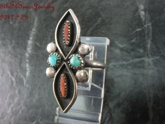 Early Unsigned Sterling Silver 925 Petite Point Coral & Turquoise Ring Size 5.5 #Unbranded #Southwestern