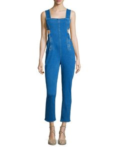 TCCS3 Kendall + Kylie Sleeveless Jumpsuit W/Waist Cutout, Medium Blue