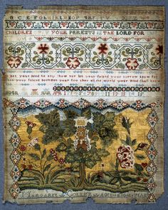 "English Sampler ~ Signed: ""Margaret Collier Aged Eight Years"" ~ late 17th…"