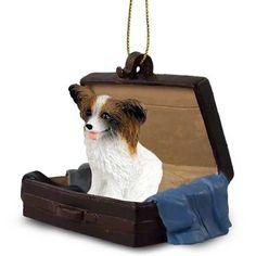 Papillon Brown White Dog Tag Along Carrycase Ornament