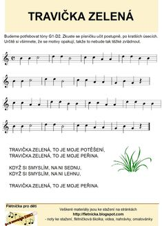 Flétnička: Travička zelená Piano, Sheet Music, Classroom, Songs, Musica, Pianos, Music Score, Music Sheets