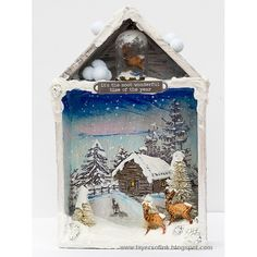 Layers of ink - Deer Winter Shadow Box Tutorial by Anna-Karin with Tim Holtz idea-ology embellishments. Christmas Shadow Boxes, Christmas Tag, Christmas Projects, All Things Christmas, Holiday Crafts, Vintage Christmas, Christmas Ornaments, Christmas Scenes, Diy Christmas Lights