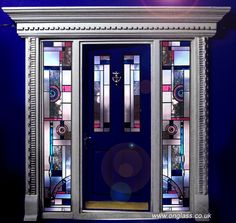 Modern etched, stained, patterned & bevelled glass front door and sidelights