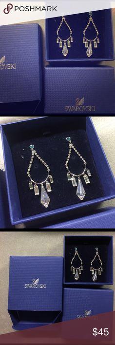 Swarovski chandelier earrings Brand new Swarovski pyramid chandelier earrings with a white and light blue crystals. Swarovski Jewelry Earrings