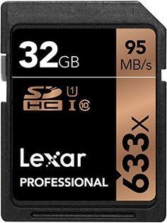 Lexar LSD32GCB1EU633 - Tarjetas de memoria Profesional SD de 32 GB (con hasta 95 MB/s, Clase 10, UHS-I, U1 o U3, velocidad de 633x)