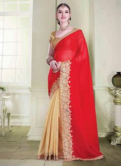 Red With Cream Party Wear Chiffon Sarees Online Shopping
