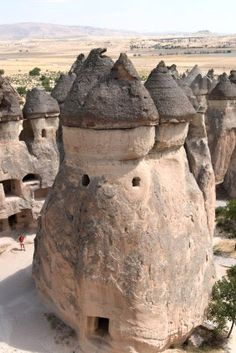 The Cappadocia region is largely underlain by sedimentary rocks formed in lakes and streams, and ignimbrite deposits erupted from ancient volcanoes approximately 9 to 3 million years ago, during the late Miocene to Pliocene epochs. The rocks of Cappadocia near Göreme eroded into hundreds of spectacular pillars and minaret-like forms. The volcanic deposits are soft rocks that the people of the villages at the heart of the Cappadocia Region carved out to form houses, churches and monasteries.