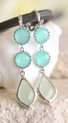 Mint and Turquoise Dangle Earrings in Silver