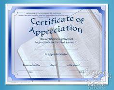 Certificate Of AppreciationReligious  Certificate Of