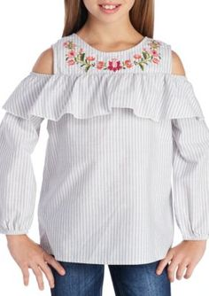 Speechless Embroidered Cold Shoulder Peasant Top Girls 7-16 - Grey - Xl