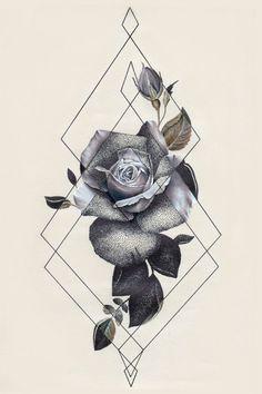 Tattoo inspiration flower geometric triangle black and white #beautytatoos #flowertattoodesigns