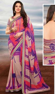Design And Trend Will Be On The Peak Of Your Splendor When You Dresses This Red & Rosy Brown Faux Georgette Saree. The Enticing Block Print|Lace Work In The Course Of The Attire Is Awe-Inspiring. #NewBlockPrintSareeDesign
