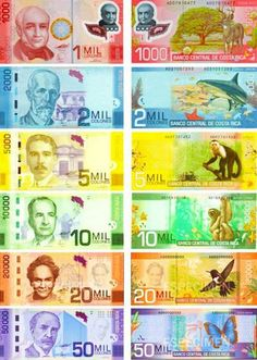The currency of Costa Rica was in honor of Christopher Columbus (Cristobal Colon = Colones). The currency symbol is the \ Playa Conchal Costa Rica, Money Template, San Jose Costa Rica, History Of Philosophy, Money Worksheets, Costa Rica Travel, Family Photography, Activities For Kids, World