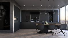 Bachelor-kitchen-all-black-cabinetry-minimal-wooden-dining-table-black-sleek-chairs-1.jpg (1200×675)