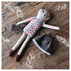 CAT DOLL Kitty Cloth Doll Handmade Cat Girl Plush от filomeluna