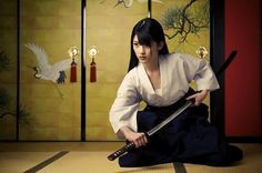 "Young Japanese woman with katana... ""Anyone can die. It's living that requires courage."" ― Nobuhiro Watsuki"